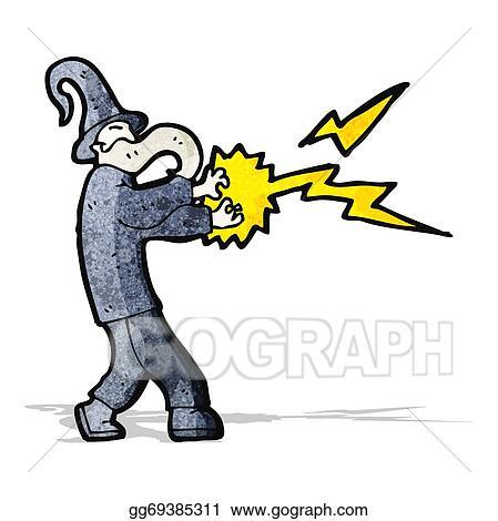 Eps Illustration Cartoon Wizard Casting Spell Vector Clipart Gg69385311 Gograph