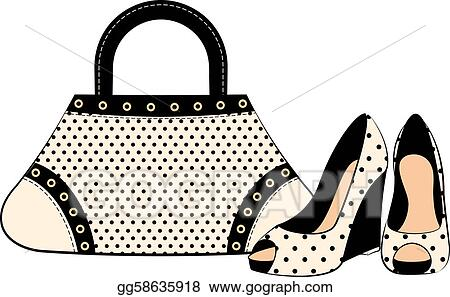 Eps Vector Cartoon Womans Bag And Shoes Stock Clipart