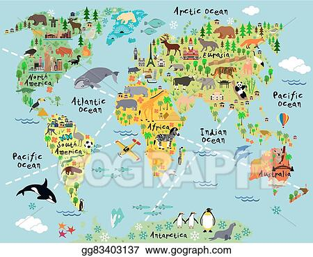 Vector art cartoon world map eps clipart gg83403137 gograph cartoon world map gumiabroncs