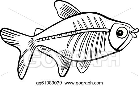 Vector Clipart - Cartoon x-ray fish for coloring book ...