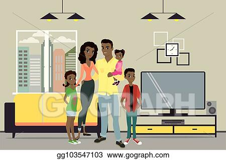 Vector Illustration Cartoon Young African American Family And