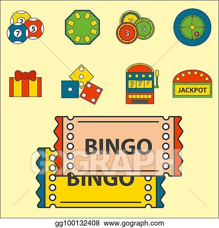 Vector Art - Casino game icons poker gambler symbols blackjack