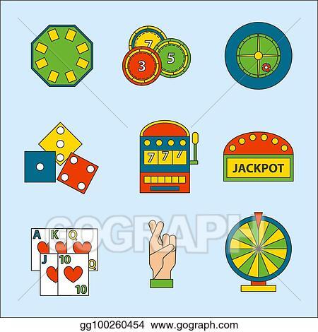 Vector Art Casino Game Icons Poker Gambler Symbols Blackjack Winning Roulette Joker Slotbvector Illustration Clipart Drawing Gg100260454 Gograph