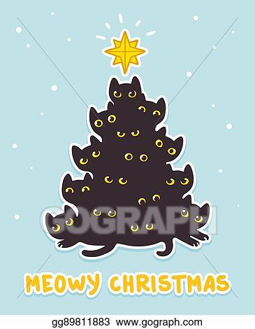 Christmas Humor Clip Art.Vector Illustration Cat Christmas Tree Eps Clipart