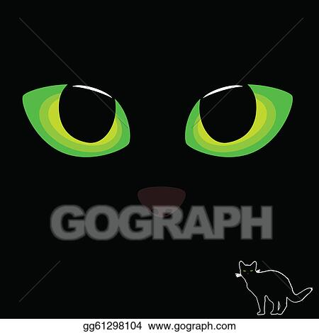 Vector Art Cat Eye In Green Color With Black Cat Illustration