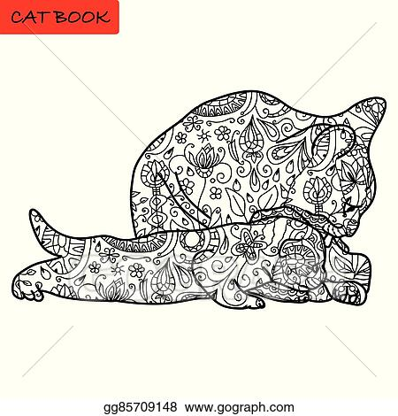 EPS Vector - Cat Mother And Her Funny Kitten - Coloring Book For Adults -  Cat Book, Hand Drawn Vector Illustration With Patterns. Stock Clipart  Illustration Gg85709148 - GoGraph