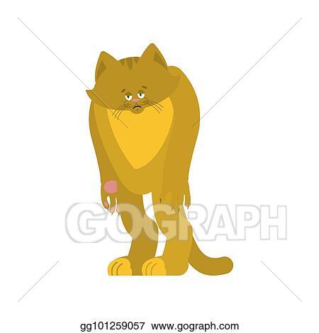 Vector Illustration - Cat sad. pet sorrowful emotions. kitty dull ... f500fa2a6488
