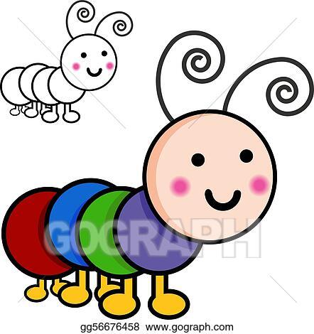 Eps Illustration Caterpillar Cartoon Bugs Vector Clipart