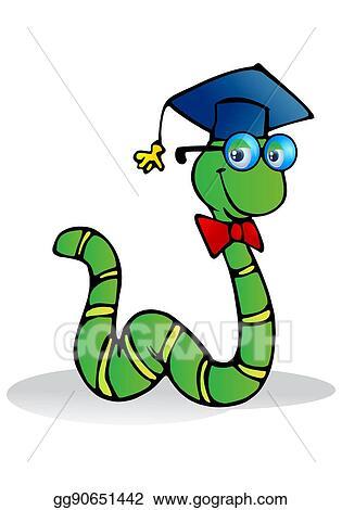 Drawing - Caterpillar wear graduation hat  Clipart Drawing