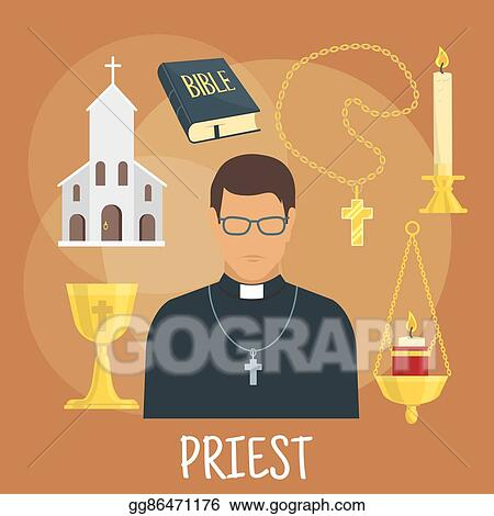 Vector Illustration Catholic Priest With Religious Symbols Flat