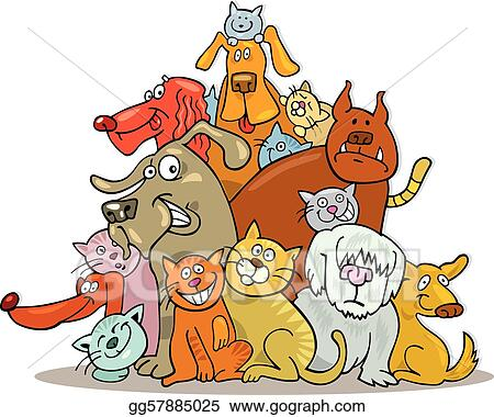 Clip Art Vector Cats And Dogs Group Stock Eps Gg57885025 Gograph