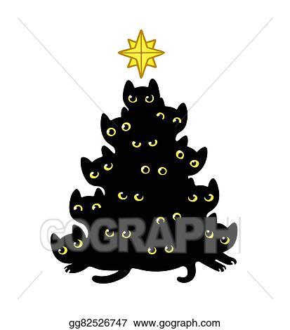 Vector Clipart Cats Christmas Tree Vector Illustration Gg82526747 Gograph