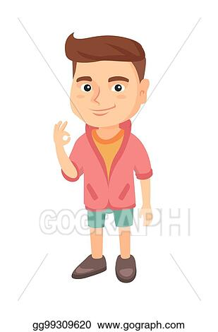91872bcf44 Clip Art Vector - Caucasian little boy showing ok sign. Stock EPS ...
