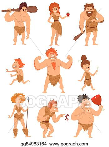 Vector Clipart Caveman Primitive People Cartoon Action Neanderthal