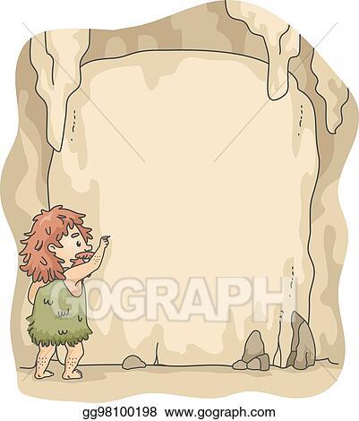 Vector Art Caveman Write Cave Frame Eps Clipart Gg98100198 Gograph