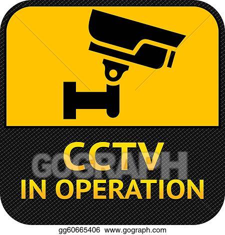 Vector Art Cctv Symbol Label Security Camera Eps Clipart