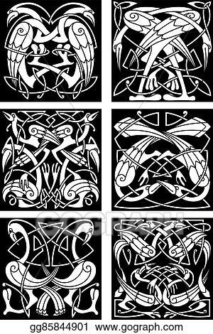 8620c7c2a Vector Art - Celtic knot ornament with fantastic birds. EPS clipart ...