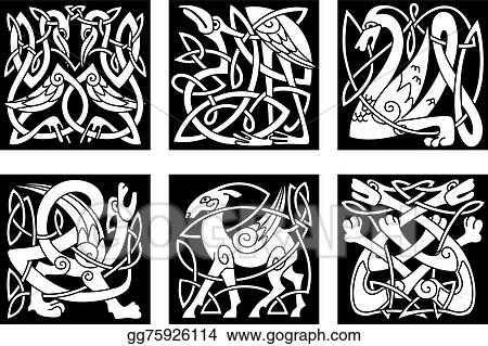 Line Art Animals Tattoo : Vector stock celtic style animals on black background clipart