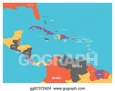 Vector Illustration - Central america and carribean states ...
