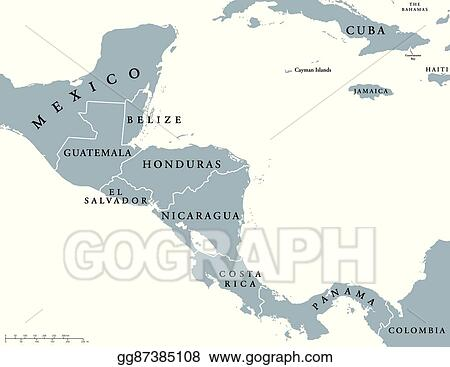 EPS Illustration - Central america countries map. Vector Clipart ...