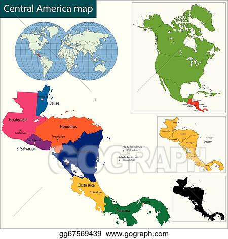 Vector Clipart - Central america map. Vector Illustration ...