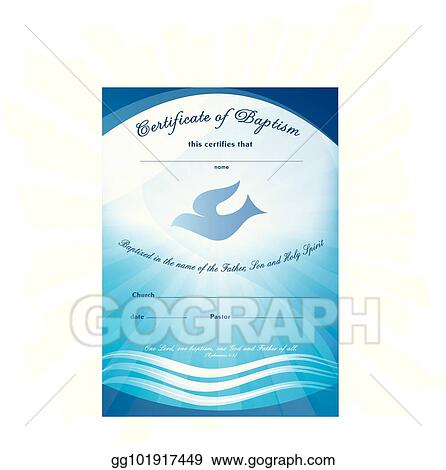 certificate baptism template with waves of water and dove