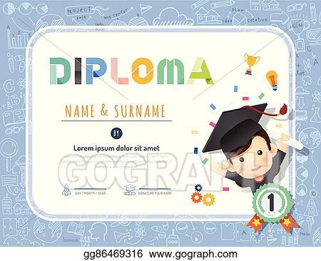 Vector Art - Certificate kids diploma, kindergarten template
