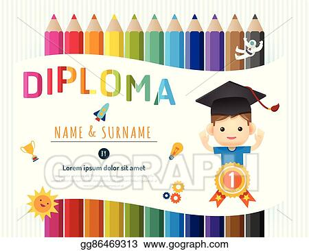Certificate Kids Diploma, Kindergarten Template Layout Pencil Background Frame  Design Vector