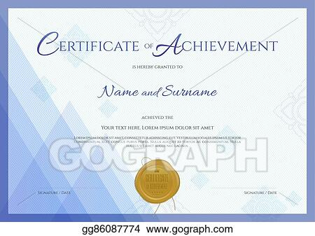 Vector Illustration Certificate Of Achievement Template With