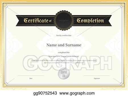 Vector Illustration Certificate Of Completion Template With