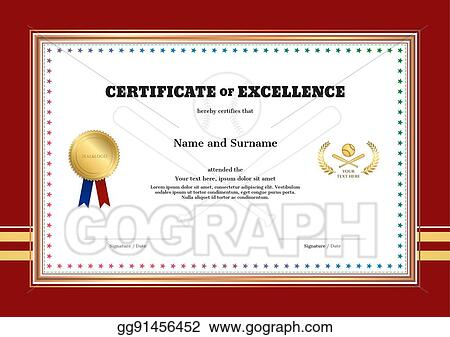 eps illustration certificate of excellence template in sport theme
