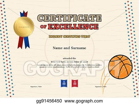 vector stock certificate of excellence template in sport theme for