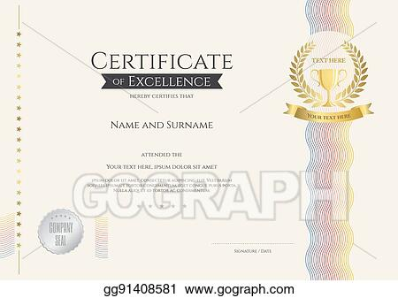 vector art certificate of excellence template with colorful wave