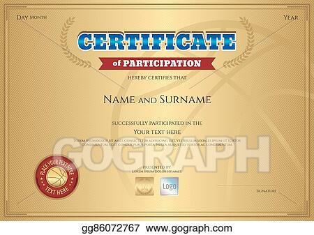 Certificate Of Participation Template | Eps Vector Certificate Of Participation Template With Gold