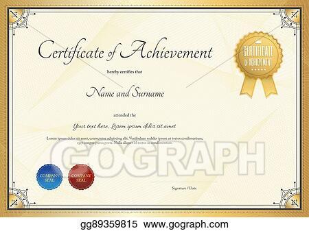 Vector Illustration Certificate Template For Achievement