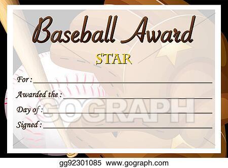 eps illustration certificate template for baseball award vector