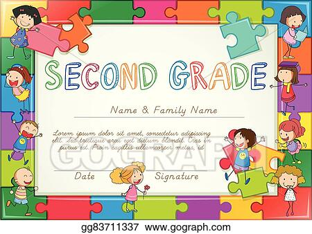 Vector Art Certificate Template For Second Grade Students Clipart