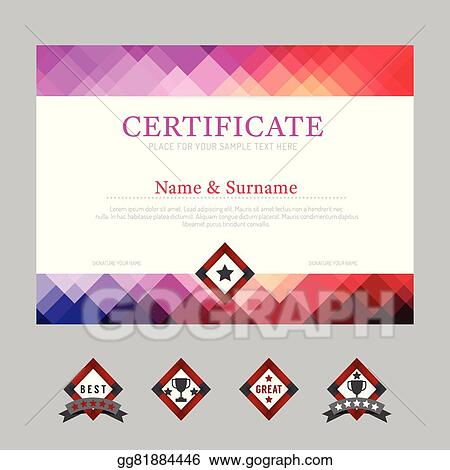 Vector Art Certificate Template Layout Background Frame Design