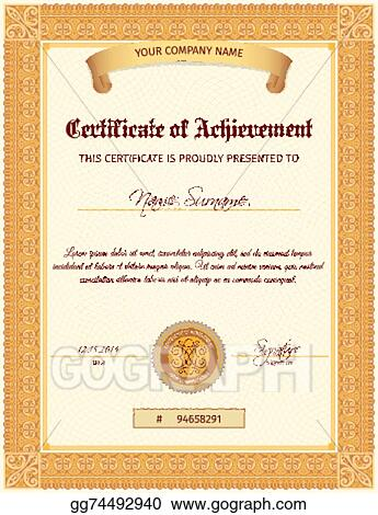 Eps Illustration Certificate Template Vertical Vector Clipart