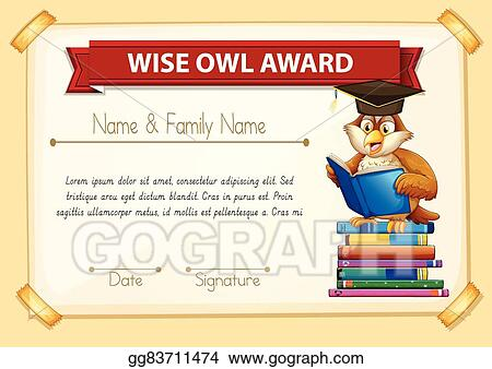 Vector Stock Certificate Template With Owl Reading Books Stock