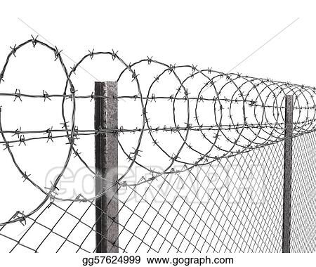 Clipart - Chainlink fence with barbed wire on top closeup. Stock ...
