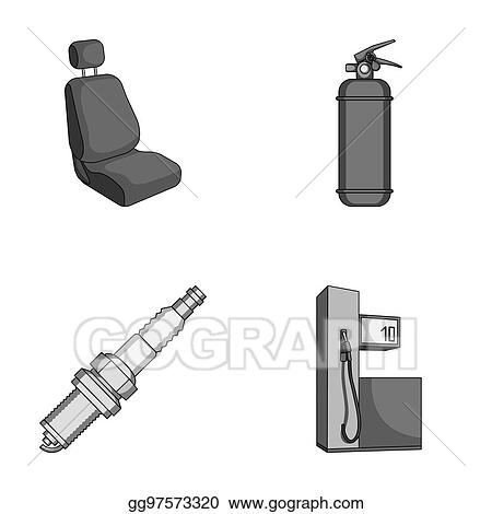Stock Illustration - Chair with headrest, fire extinguisher