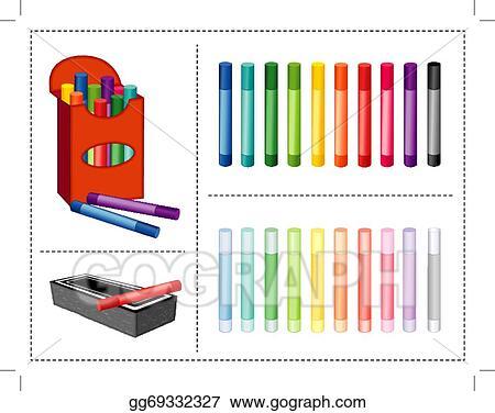clip art vector chalk box 20 colors eraser stock eps gg69332327