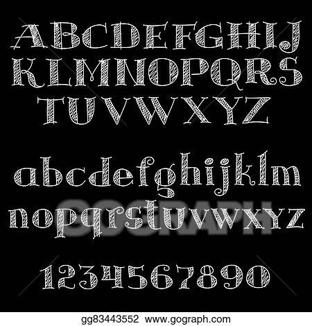 EPS Illustration - Chalk font or type alphabet on blackboard
