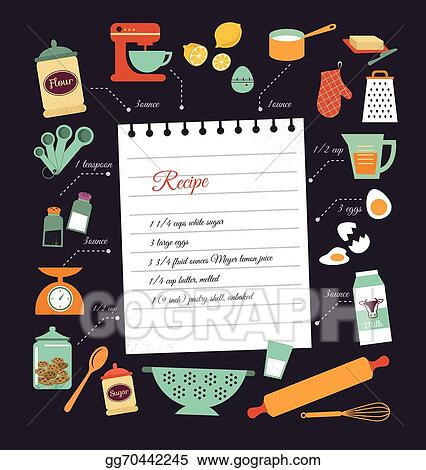 Vector Art - Chalkboard meal recipe template vector design. Clipart ...