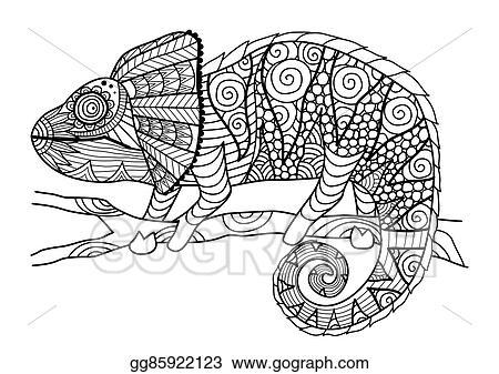 Vektor Stock Chamaleon Ausmalbilder Clipart Illustration Gg85922123 Gograph