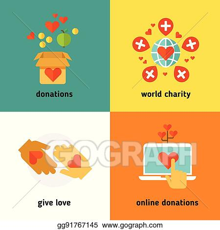 vector stock charity and donation social help services volunteer