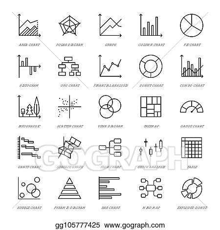 vector illustration chart types flat line icons linear graph Block Diagram Linear Accelerator linear graph, column, pie donut diagram, financial report illustrations, infographic thin signs for business statistic, data analysis editable strokes