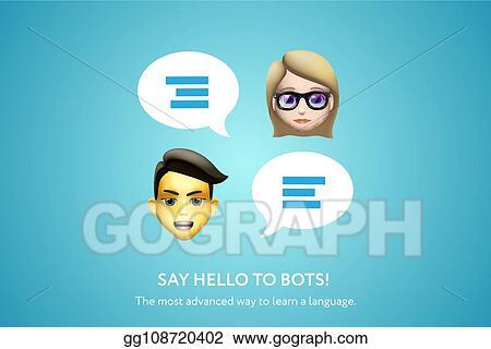 EPS Illustration - Chat bot banner concept for online