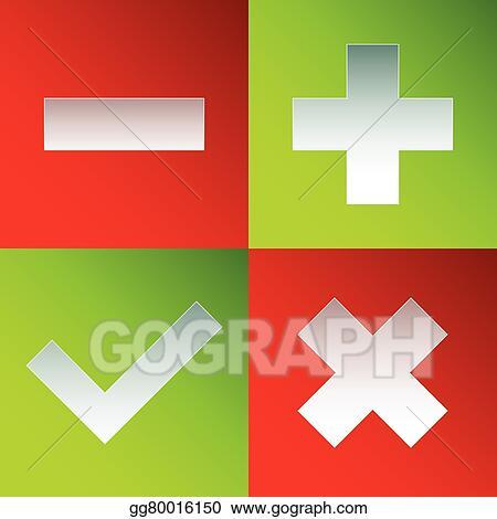 Vector Clipart - Check mark, cross, plus, minus sign set